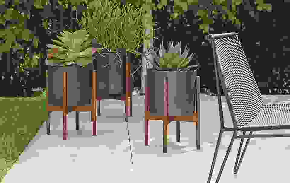 Detail of three outdoor Casestudy planters