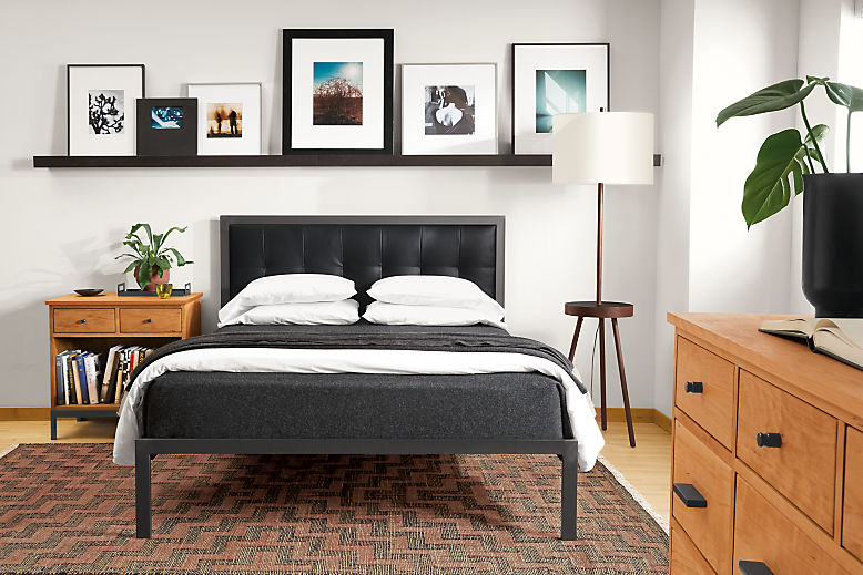 Detail of Chapman queen bed with Urbino Black leather headboard (bed front view)