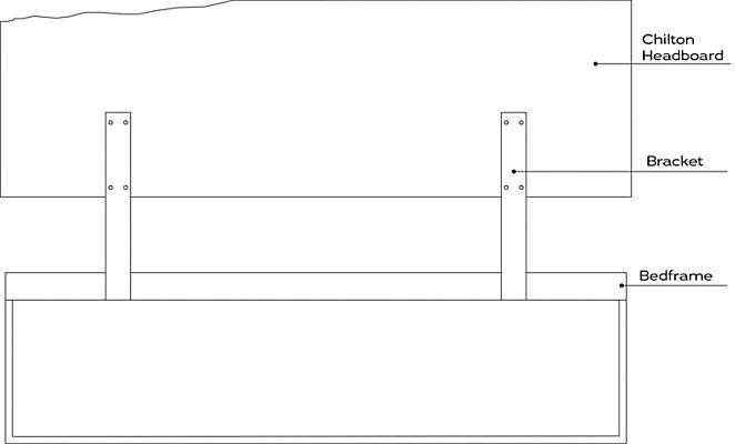 Line drawing of Chilton headboard