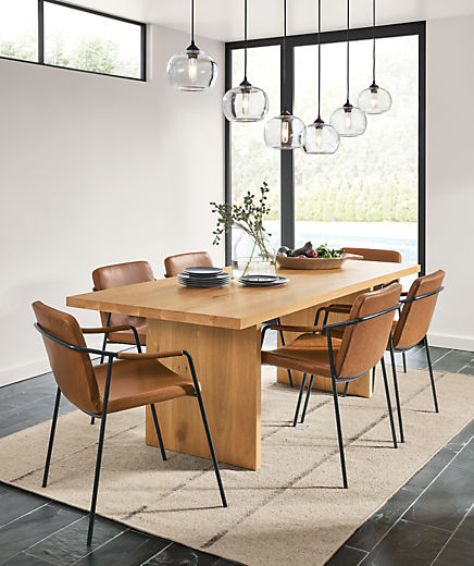 Detail of Corbett dining table in white oak in dining room