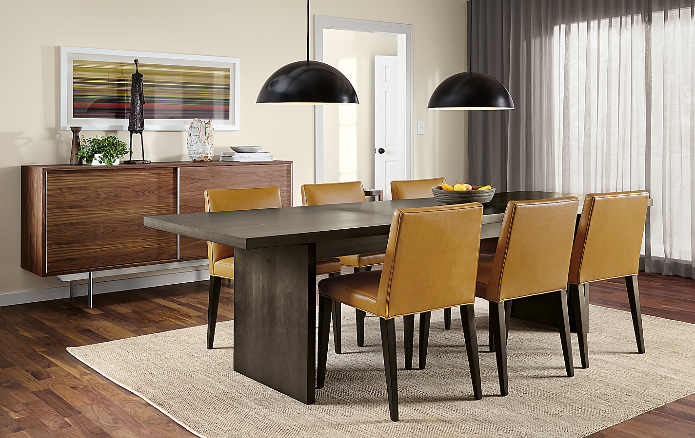 Corbett Table in Walnut and Ava Chairs
