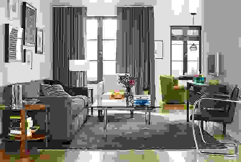 Living room with Dean sofa in daly charcoal