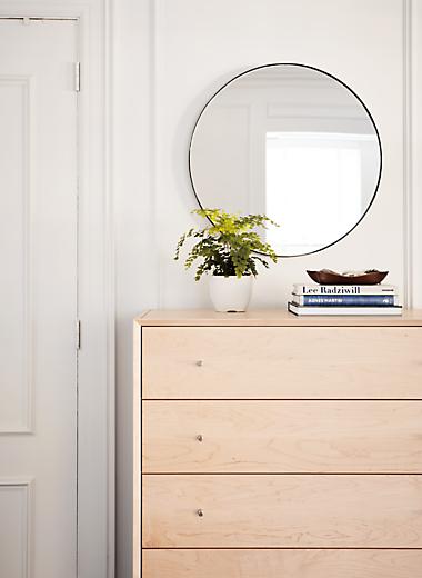 Side detail of Delano five-drawer dresser