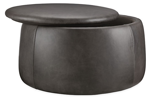 Detail silhouette of black leather ottoman