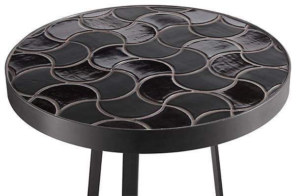 Close detail of Doro black tile end table
