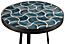 Close detail of Doro blue tile table
