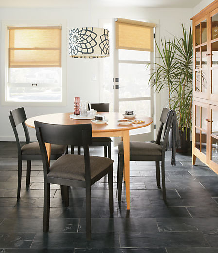 Dining room with Doyle side chair in maple with charcoal finish