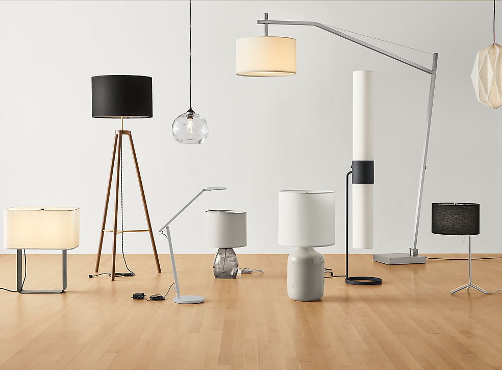 Grouping of Room & Board modern lamps