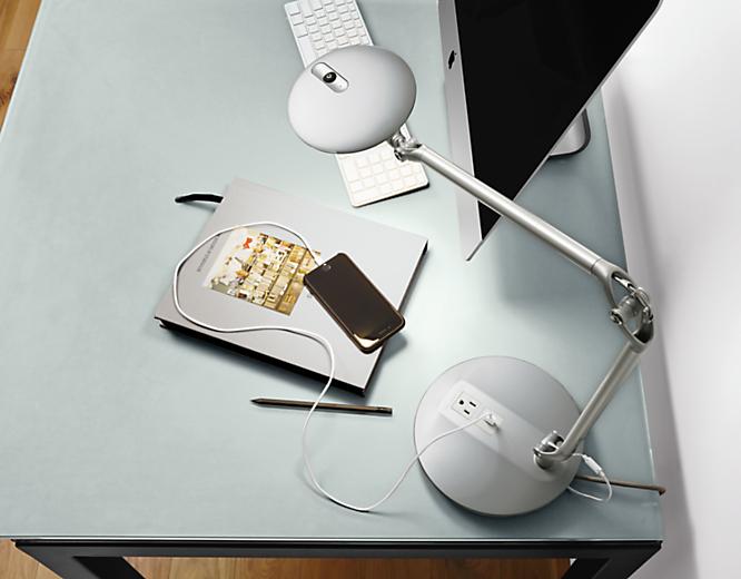 Element Disc LED lamp on desk