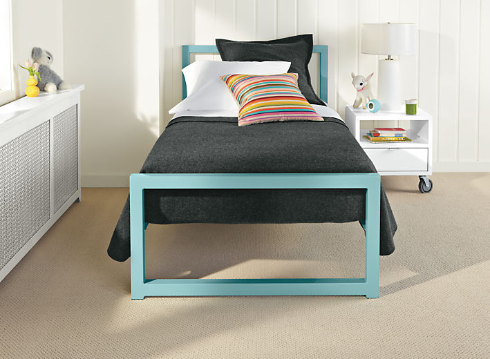 Bedroom with Washable wool twin bedding ensemble in charcoal