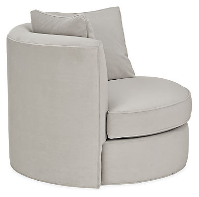 """Side view of Eos 42"""" swivel chair in view grey"""