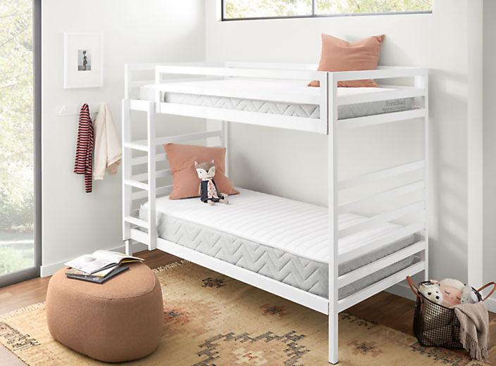 Detail of Essential bunk mattress and Basic twin mattress on bunk bed