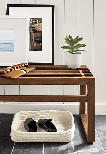 Side detail of Ewing slatted bench