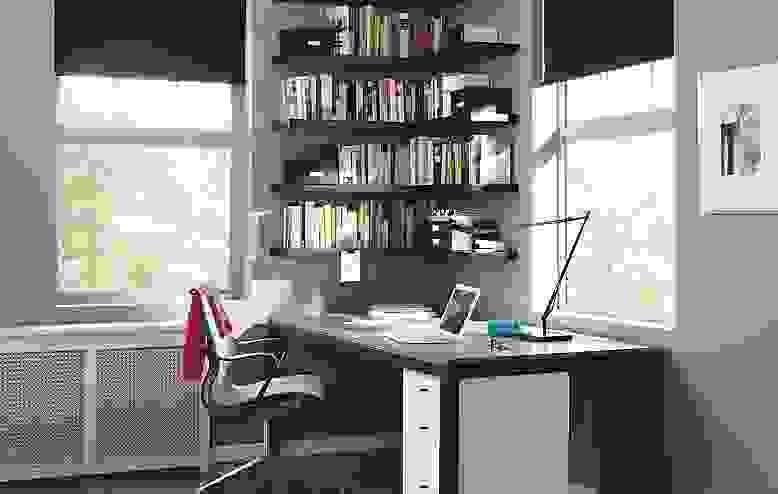 Detail of Float desk in corner office