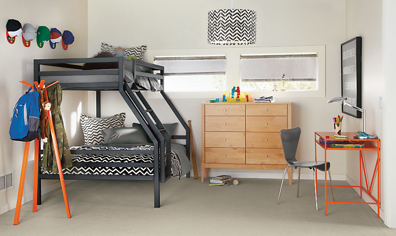 Detail of Fort bunk bed in natural steel