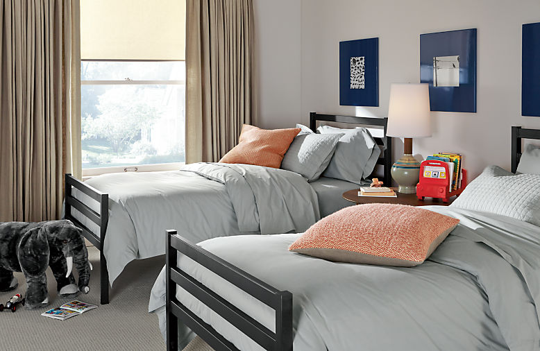 Bedroom with Fort twin bed in natural steel