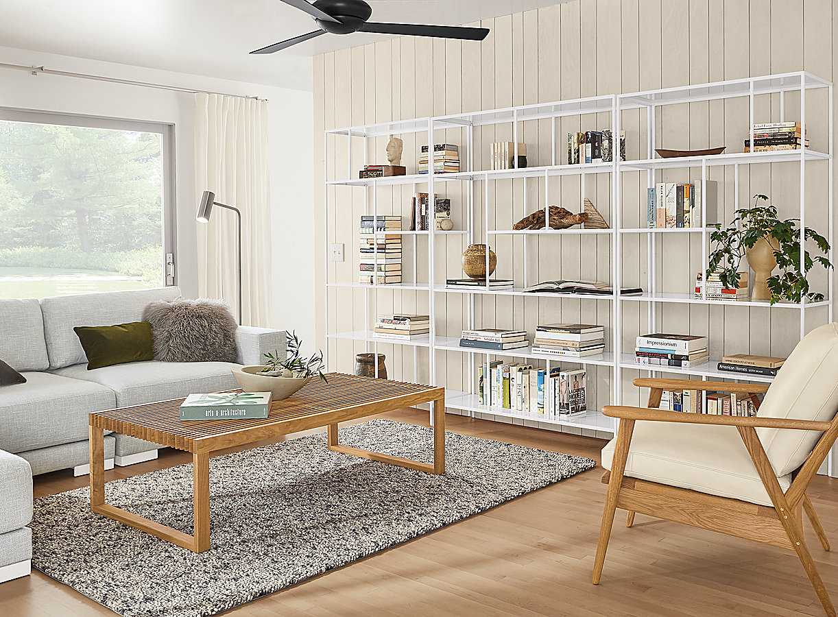 """Foshay Bookcase 120"""" Wall Unit in White"""