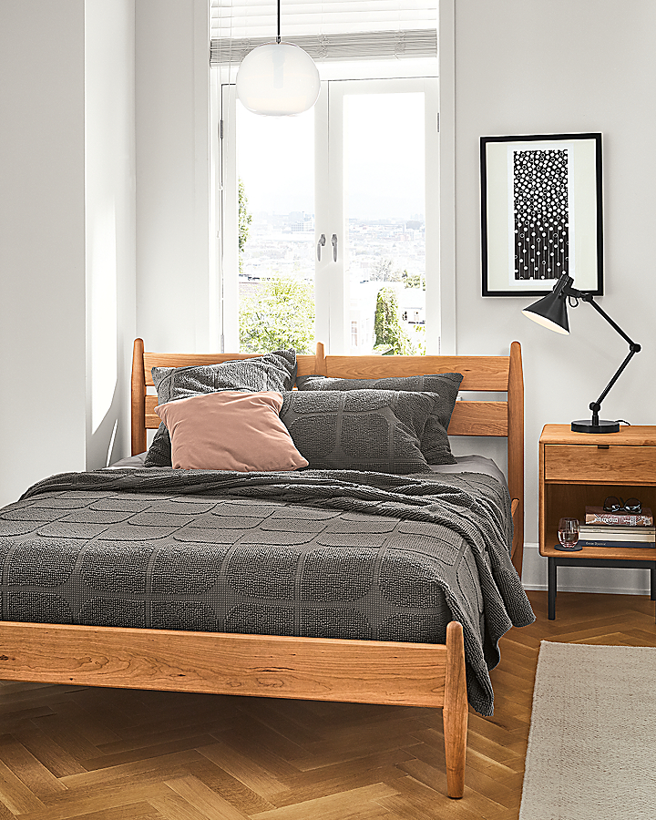 Grove Bed and Hensley Nightstand in Small Space