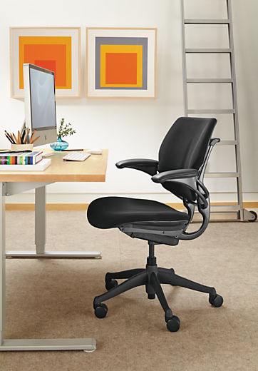 Side detail of Freedom office chair in black