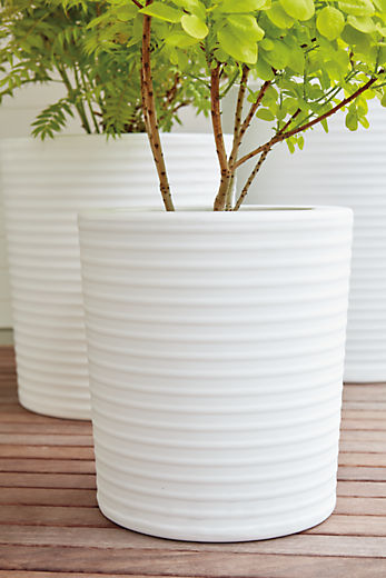 Patio with Furrow planter in white