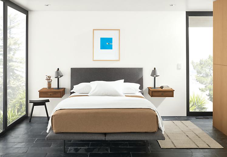 Detail of Hanson queen bed in Flint Gunmetal fabric in modern bedroom
