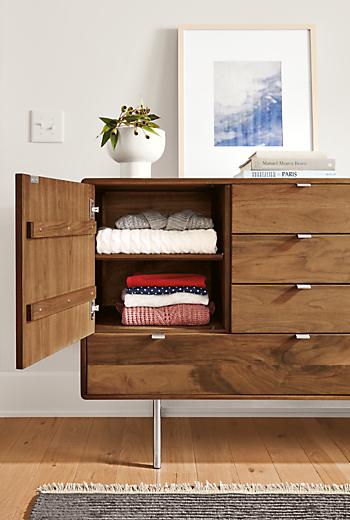 Detail of Hensley eight-drawer two-drawer dresser