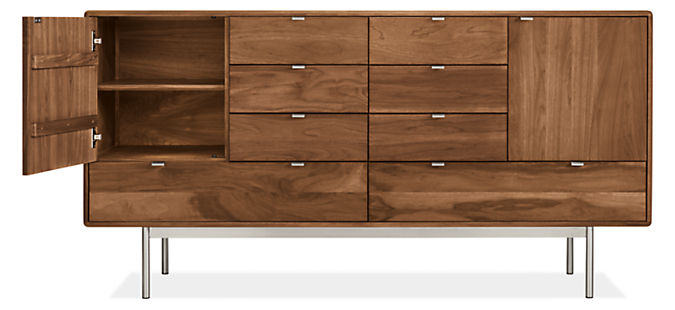 Detail of Hensley eight-drawer dresser with left door open