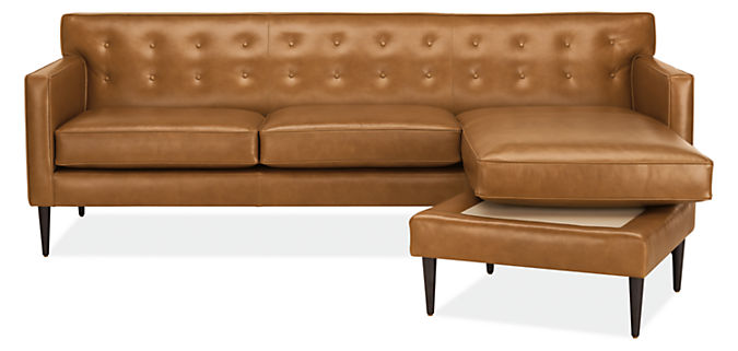 Detail of Holmes sofa with chaise in leather