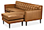 Detail of Holmes sofa with chaise in portofino cognac leather