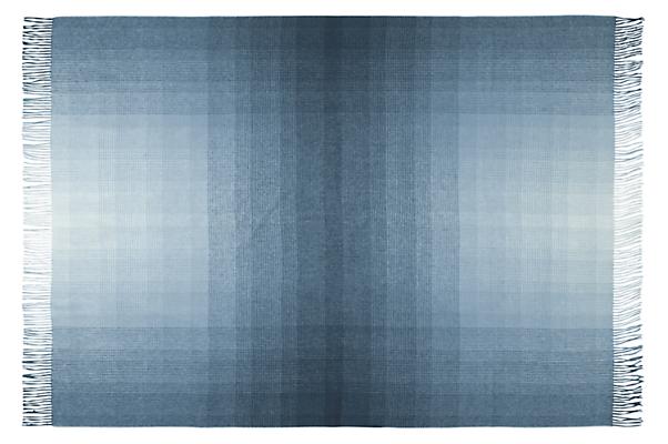 Detail of open Horizon micro plaid throw blanket in ocean