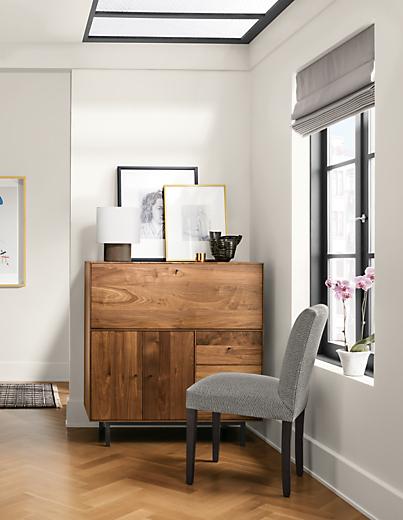 Detail of Hudson office armoire in corner