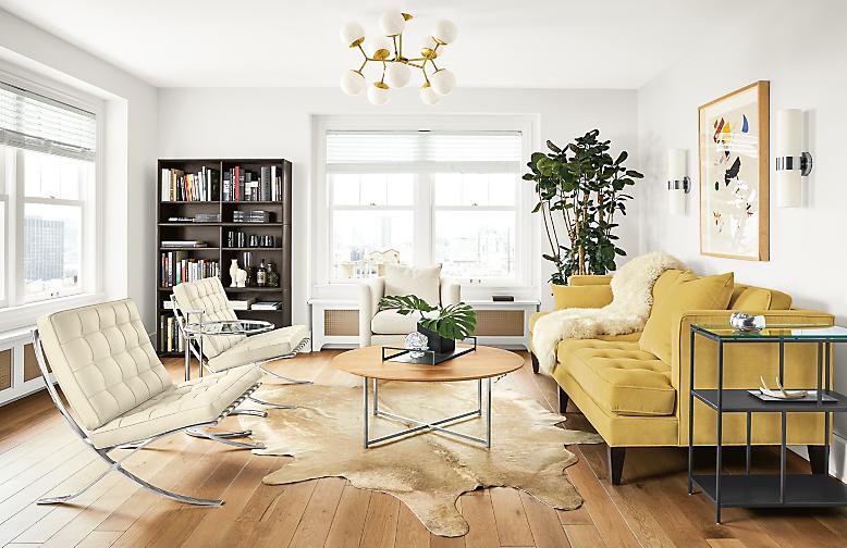 Detail of Hutton sofa in Banks Straw velvet in living room