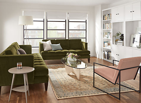 Hutton Sofas in Vance Olive