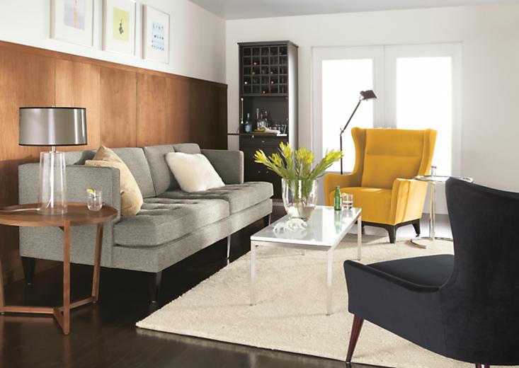 Living room with Hutton sofa in tatum salt