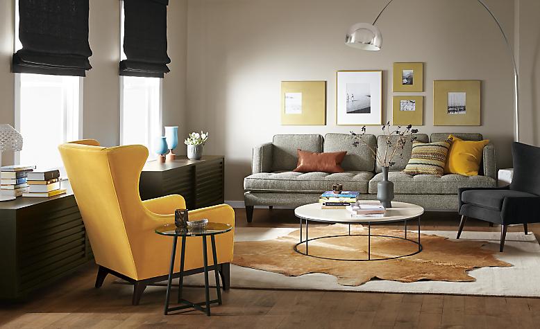 Detail of Hutton 98-inch grey sofa
