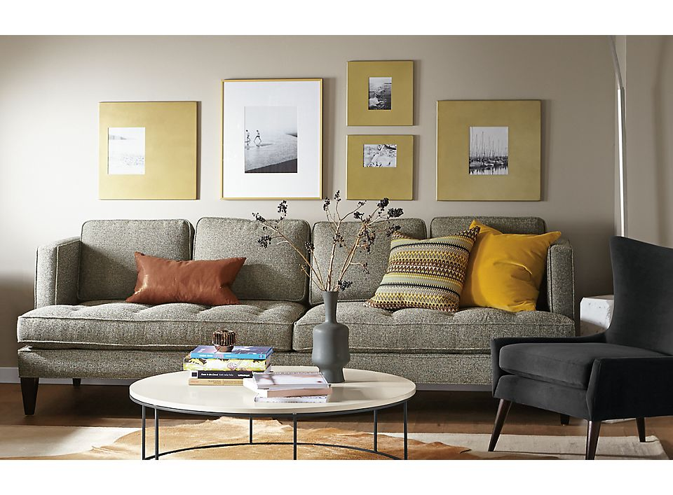 Detail of Hutton 98-inch grey sofa