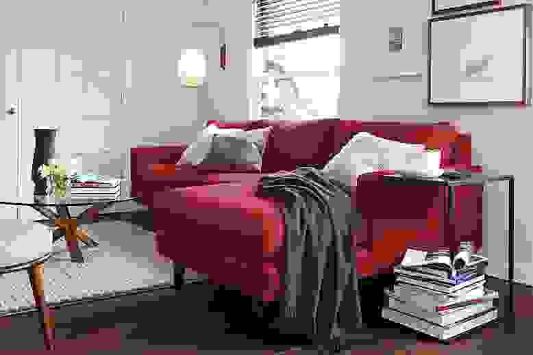 Detail of Jasper 104-inch sofa in red fabric