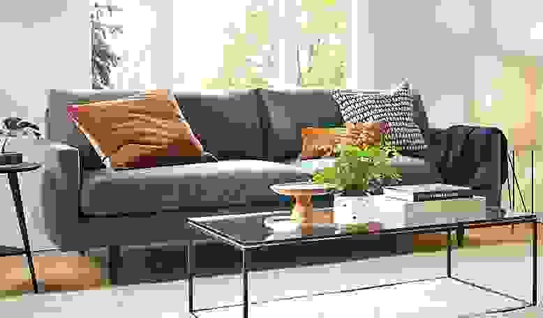 Detail of Jasper sofa in haze fabric