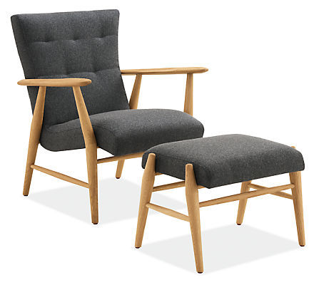Detail of Jonas lounge chair and ottoman