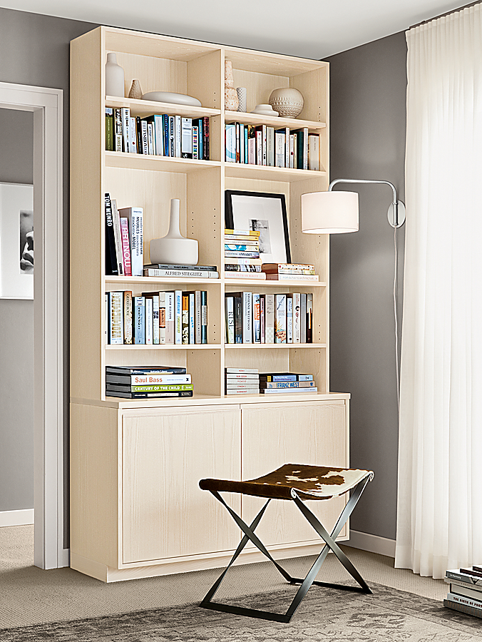 Keaton Bookcase in Sand with Karr Stool