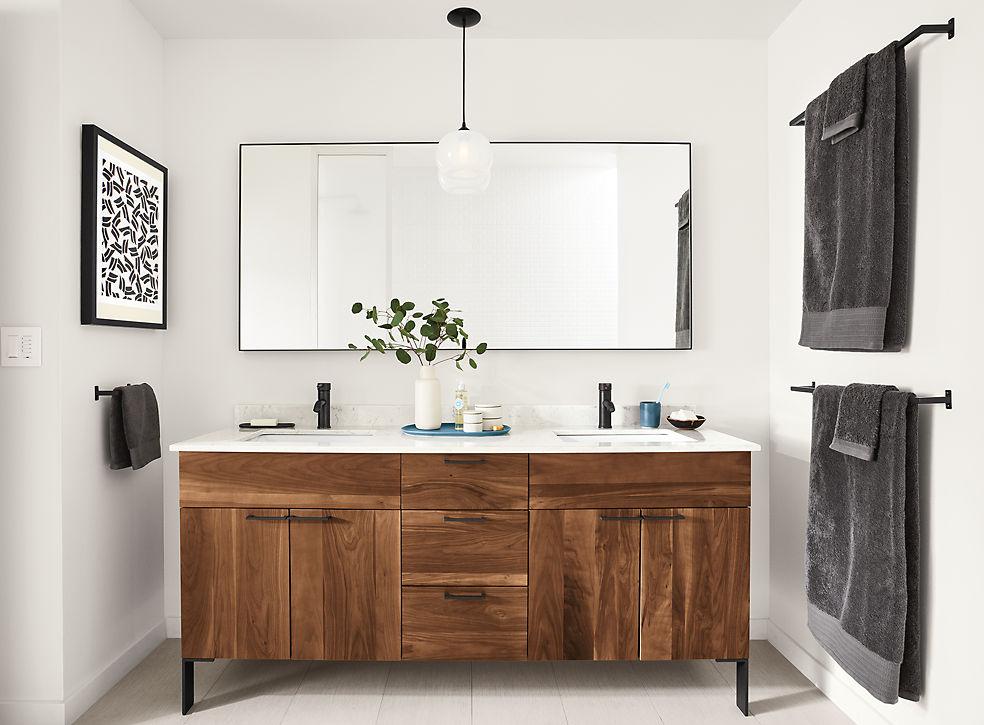 Kenwood Walnut Vanity in Bathroom