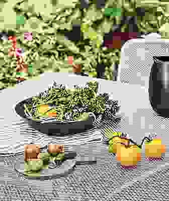 Close detail of food on Konda outdoor table