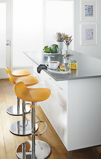 Detail of Leo adjustable yellow stools