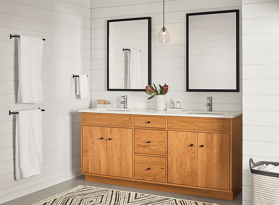 Bathroom With Linear Vanity In Cherry Room Board