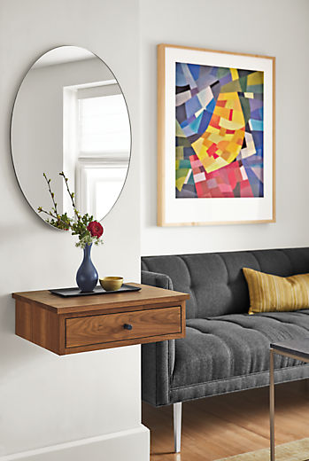 Detail of Linear wall-mounted nightstand