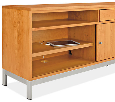 Detail of Linear right-file drawer bench