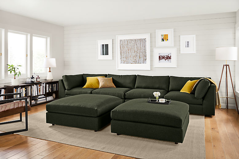 Living room with Linger modular sectional in flint olive