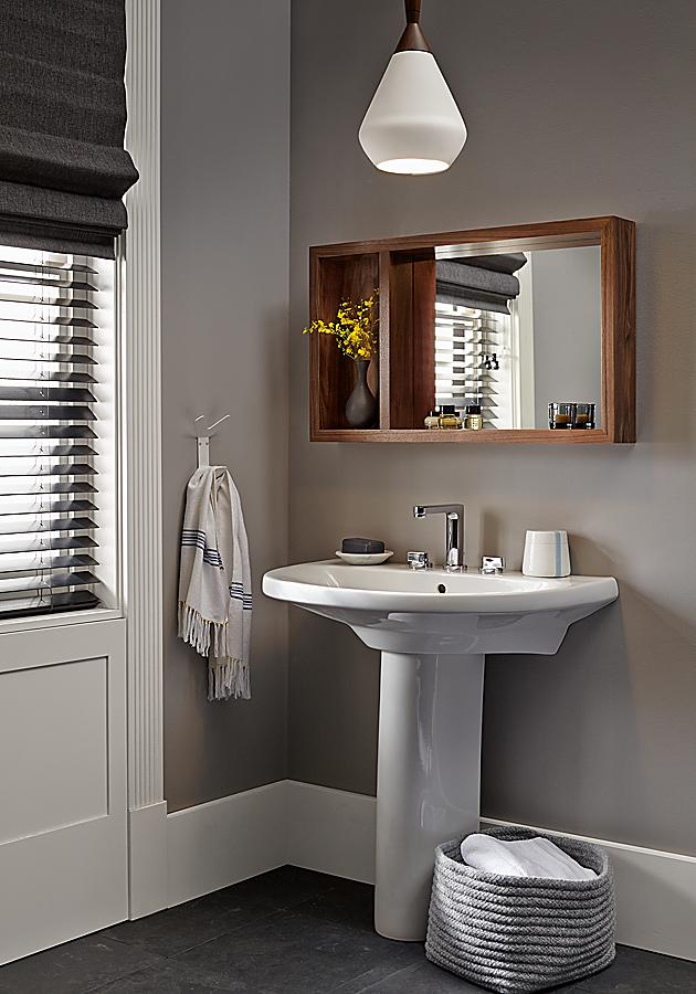 Detail of Loft mirror with shelf in walnut