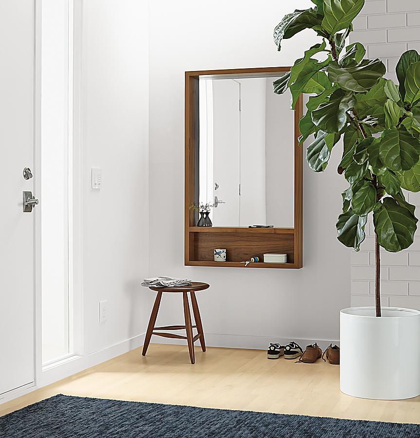 Loft 30x50 Mirror with Shelf in Walnut