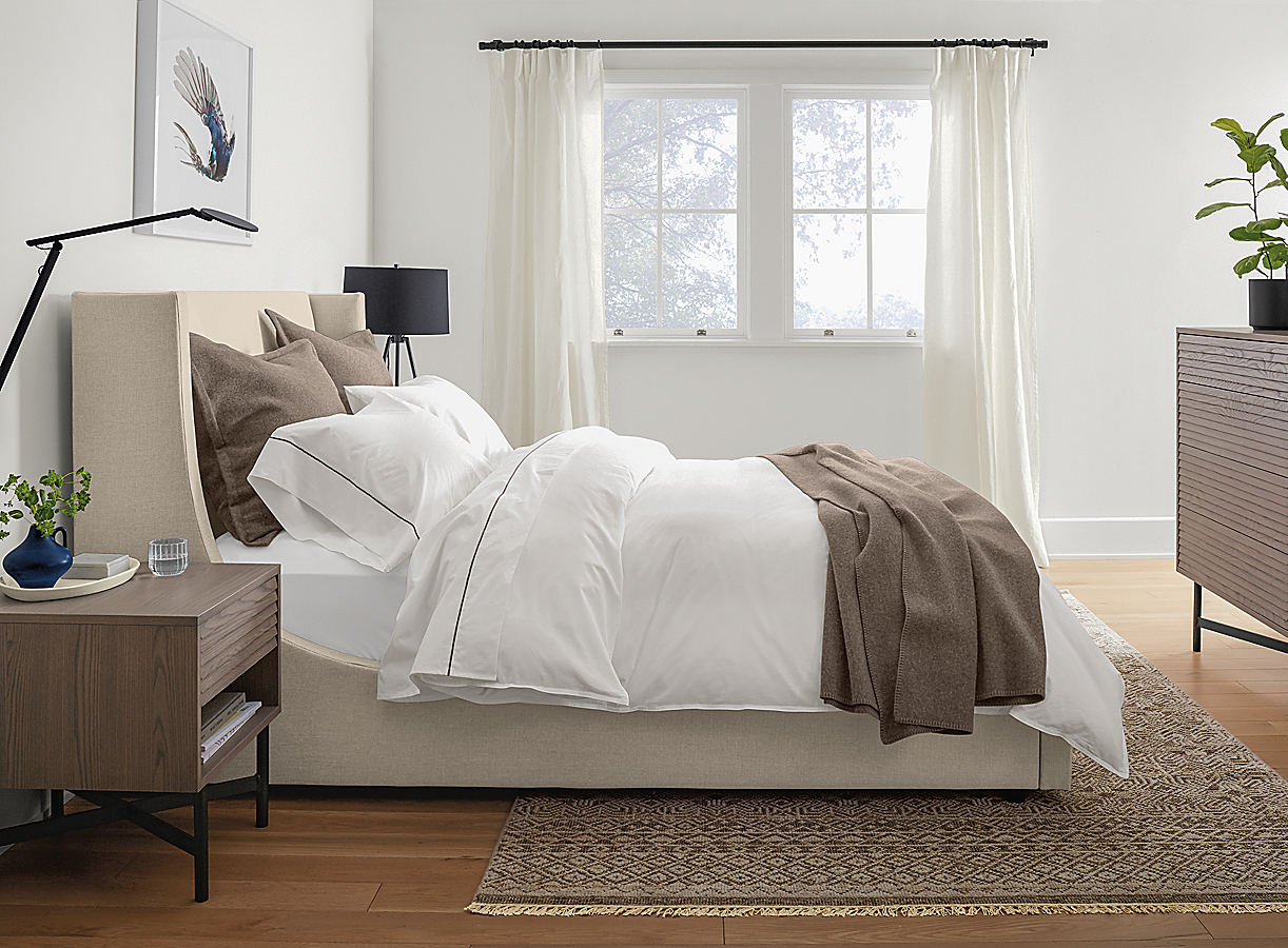 Sommerville Duvet Cover with Charcoal Stitching